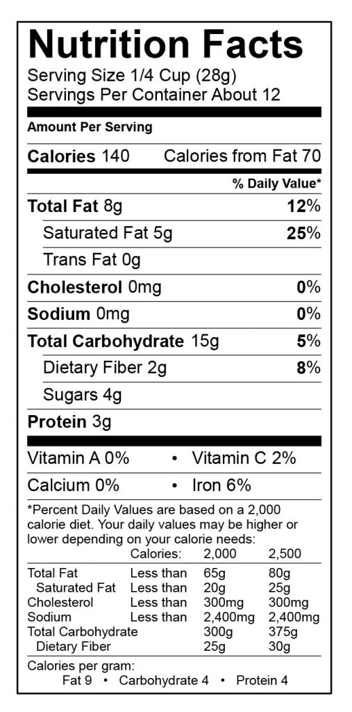 Photo of Nutrition Label Jamaican Me Crazy by Nana's All Natural Foods