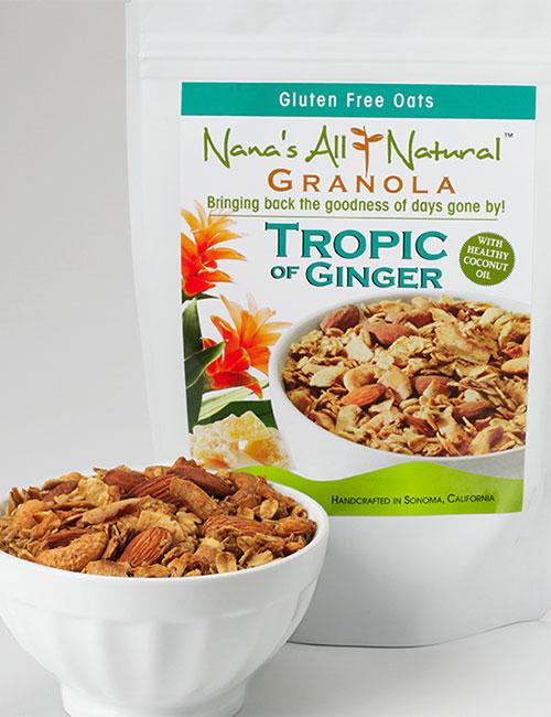 Tropic of Photo of bag of Ginger Granola by Nana's All Natural Granola